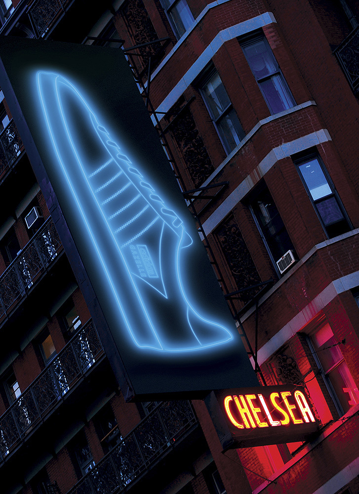 A view of the neon sign adorning the fro